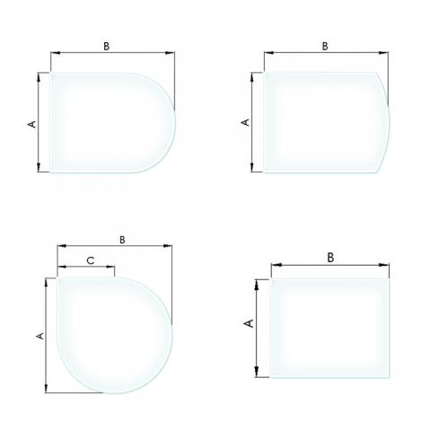 Funkenschutzplatte, ESG 6 mm Kamin Glasplatte mit Facette
